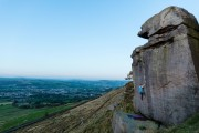 Jim Pope on Edge of Darkness at Earl Crag whilst making the most of the incredible weather.<br>© Sam Pratt Photography