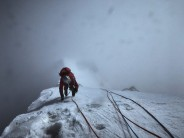 Paul Figg making the last few moves to the summit of Janhukot in the Garwhal Himalaya