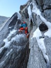 Starting the crux in good icy conditions