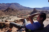 Relaxing at the top of The Black Wall in the sun and with wonderful views of the desert granite.