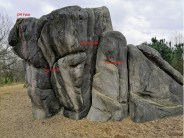 Fairlop Boulders, B, The Prominent Prow / Dinosaur. Side furthest away from path