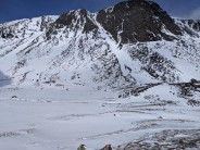 A look back after downclimbing Diagonal Gully on an Alpine day