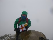 """""""Travelin Garfield"""" with me on the summit of Snowdon. Via the Watkin path, with freezing hail falling."""