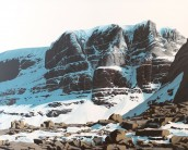 Triple Buttress, Beinn Eighe, Acrylic on canvas 120x100cm. Painting is the next best thing to being in the mountains!