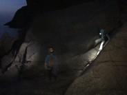 Reaching the bottom pitch of commando ridge in the dark