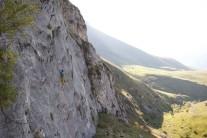 Graham McGrenere climbing 'Bullet through my flow' on the impressive 'Empress Slabs' of Dilijan