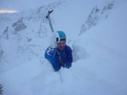 bashing through the cornice at brown cove crags