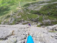 Tom shortly overcoming the crux on Spring Bank