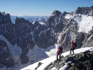 Approaching the summit of Pic Coolidge in the Ecrins