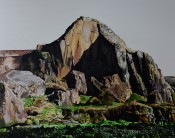 Dumbarton Rock or 'Dumby' to its friends. Iconic, with beautiful rock so could not resist painting it - acrylic on canvas, 76 x