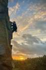 Easy Turnpike, The Alport Stone, Derbyshire, solo during sunset.