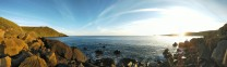 Lovely evening panorama of the bay at Porth Ysgo.