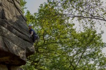 Jesse Dufton leading Moyers Buttress at Gardoms