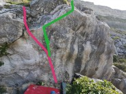 """Mini Ceuse Boulder"" Topo of ""Shris Charma"" (Pink) and ""Wimmy Jebb"" (Green SS from Pink to Lip)"