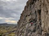"Brook making short work of the classic Doug Scott route ""Scott's Leið"".<br>© Rob Askew"