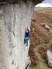 The classic thumb sprag move on 'On the Rocks' at Back Bowden.