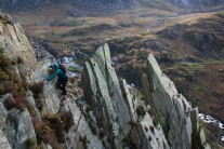 Kathryn Roberts making the final moves across Pinnacle Ridge on Craig Braich Ty Du in Ogwen
