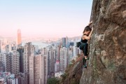 Jen Shirlaw on Peel Street as the sun starts to set, Central Crags, Hong Kong<br>© Claire Clifton Coles