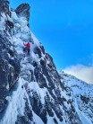 Dave Slade on the top pitch of B Gully Chimney (right hand branch)