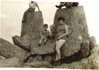 Tryfan Summit, summer 1959, I'm the little chap on the left. Note the triconis on my mum's boots!