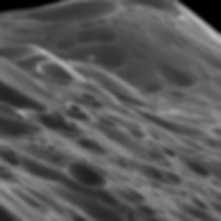 A closer look at the detail of the Iapetus ridge.