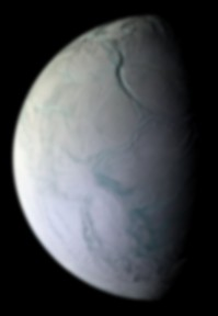 Enceladus: The prominent Labtayt Sulci is the approximately .6 mile-deep northward-trending chasm.