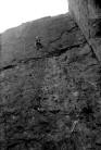 Rowland Edwards leading the ground up first ascent. Photo courtesy of Mark Edwards