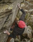 John boning down on the crimps as he eyes up the penultimate hold.