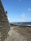 Let no good wall go unclimbed. Arseing about at Downderry.