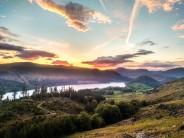 Sunset from Upper Swirl Crag, Thirlmere, June 2021.
