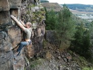 Dan on the top crux of Hands Face Space