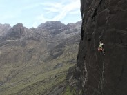 Tim Miller pulling shapes of pitch 1 of Skye wall.