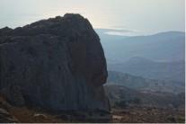 "The majestic ""Gerakopetra"" as seen from the ""Trigono tis Koneftis"" boulder."