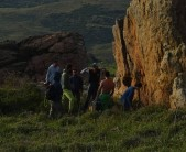 """Spring gathering at """"To Diedro"""" boulder at the bottom of """"Gerakopetra"""" sport crag. Photo by Stefanos Papado"""