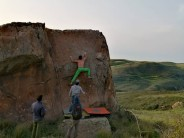 """Chris on a technical slab at the back of """"Diedro""""."""