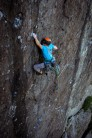 At full stretch on the crux of Lord of the Flies