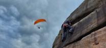 Wall End Slab VS 5a at Stanage Plantation.  Climber Andy Smythe