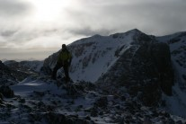 Geoff on Stob Corie Nan Lochan with Bidean Nam Bian in background, Glen Coe