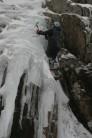 Jitka soloing on ice, Ben Nevis