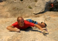 Adrian making a desperate clip on his new route Spartan Wall (F8b+) on Kalymnos