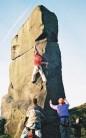 Mike Garten on his prepracticed solo of the SE arete of the Alport Stone, E6 6c**