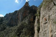 Michelle Mee climbing pitch 1 of The Master (5+) at Sa Gubia, Mallorca<br>© Alan James