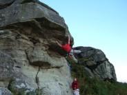Fall imminent! Guru on Jane Lies Agape (E3 5c) at Rothley Crag
