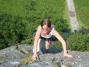 Topping out on Brown Slabs Face VD* at Shepherd's Crag