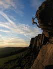 Sunset solo of Flying Buttress Direct (E1 5b), Stanage, Peak District