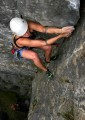 Hairy laybacking at the top of Parachute (VS 4b), Stoney Middleton<br>© http://Climbers.net