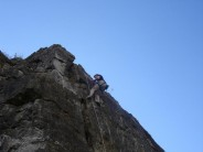 Nath climbing at top quarry