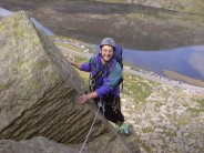 """Tony enjoying that """"air beneath your heels"""" feeling as he completes the 'bivalve' hand-traverse"""