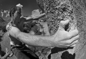 TimS, the man with the Big Hand. Pope's Prow V6.Buttermilk, Owens River Valley.<br>© ChrisJD