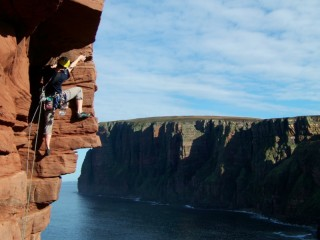 Paul on crux pitch, Old Man of Hoy